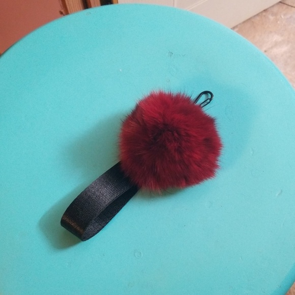 Accessories - Burgundy pompom with clip and loop